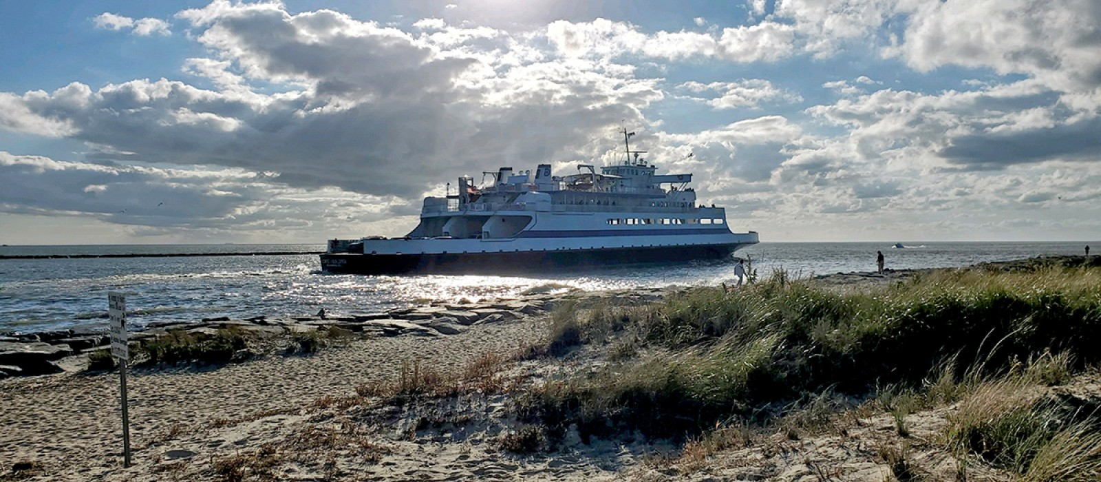 The Cape May-Lewes Ferry departs from the Cape May terminal and sails into the Delaware Bay on a sunny fall afternoon