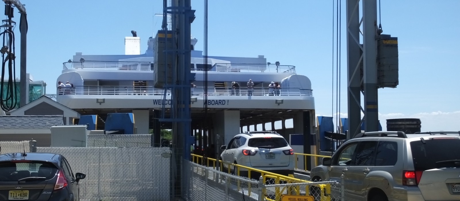 cars driving on to the Cape May-Lewes Ferry