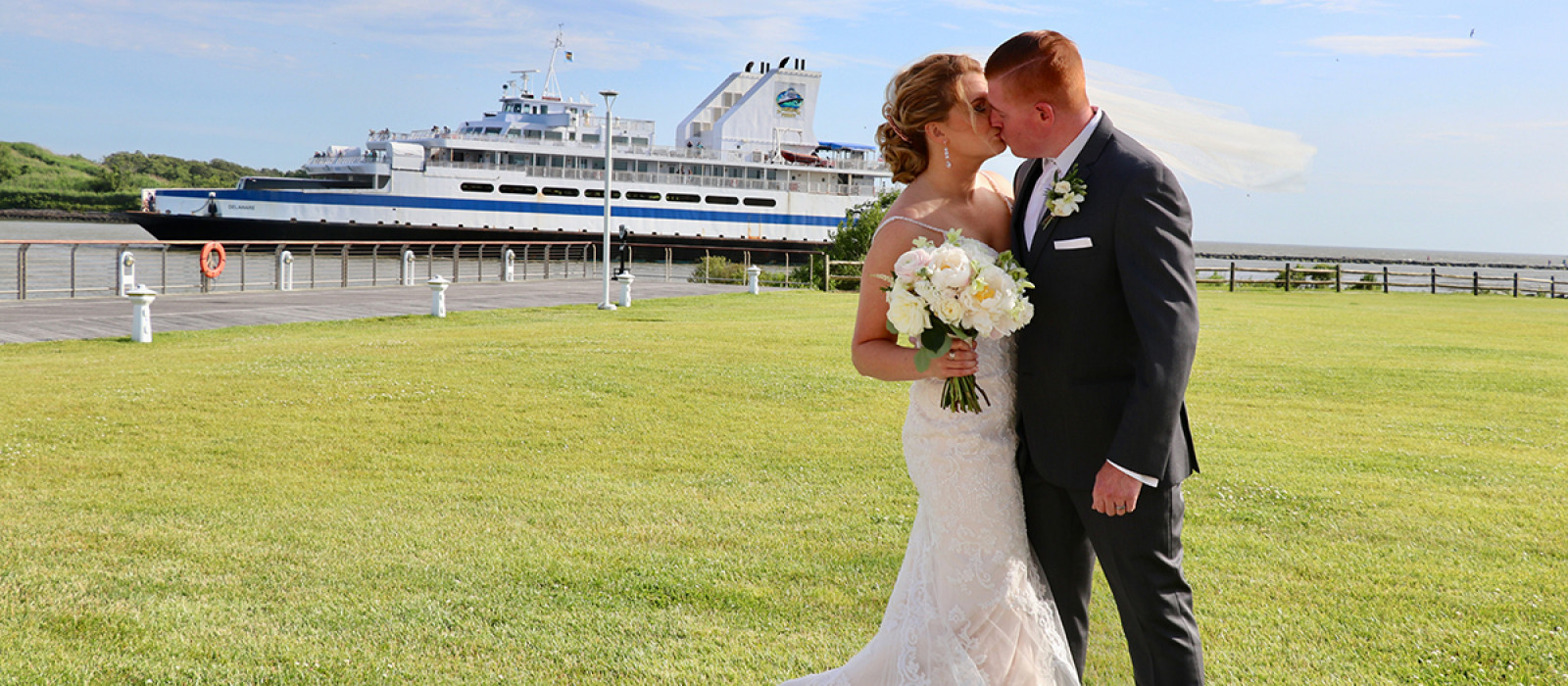 Wedding ceremony on the green at the Cape May-Lewes Ferry