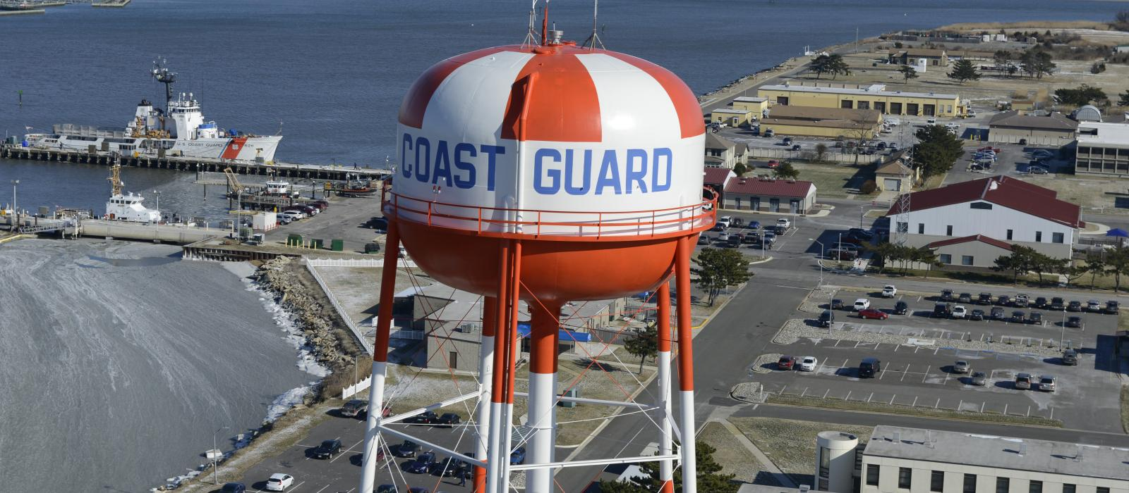 Aerial photo of the USCG water tower in Cape May, NJ