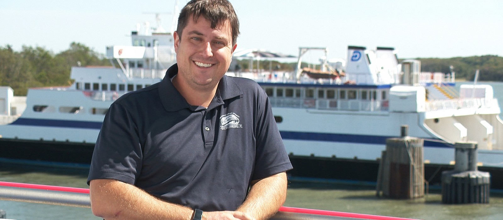 Jeff Robert, Port Engineer, Cape May-Lewes Ferry on the 03 deck of the M/V Delaware. The M/V Cape Henlopen is in the distance.