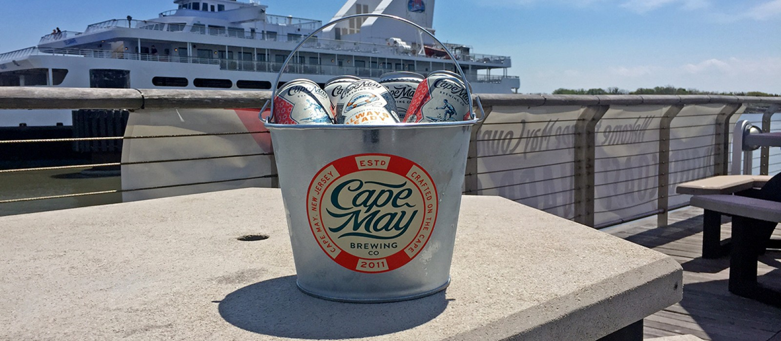 Bucket of local craft beer at On the Rocks Dockside Grill, North Cape May, NJ