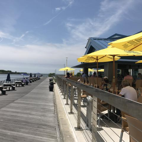 Diners at On The Rocks in Cape May take in the view of the Delaware Bay