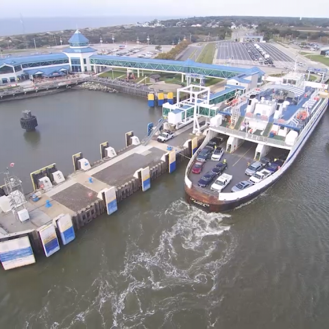 The Cape May-Lewes Ferry Terminal in North Cape May, NJ