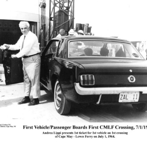 The first passenger boards the Cape May - Lewes Ferry in 1964