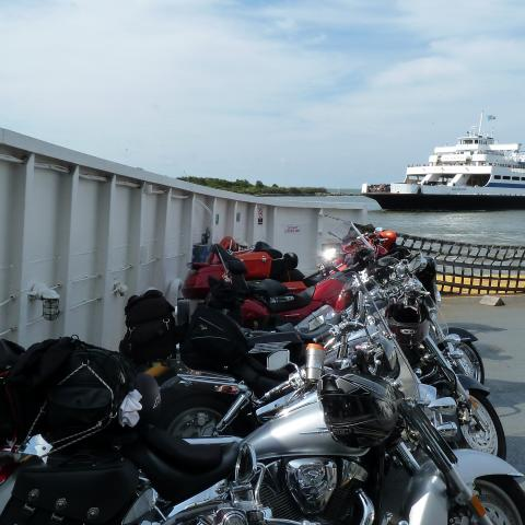 Motorcycles lined up aboard the Cape May Lewes Ferry