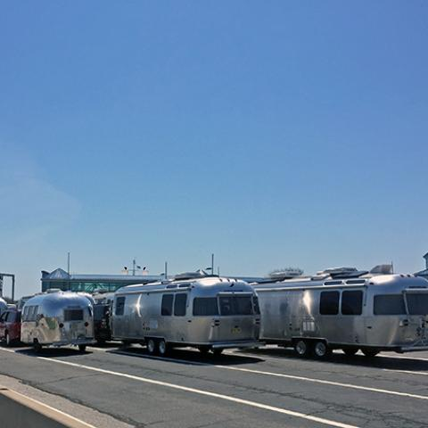 A group of RV'ers waiting to board the Cape May Lewes Ferry