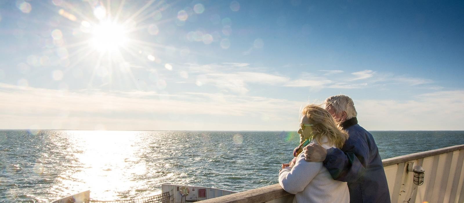 Couple enjoying the view aboard the Cape May Lewes Ferry