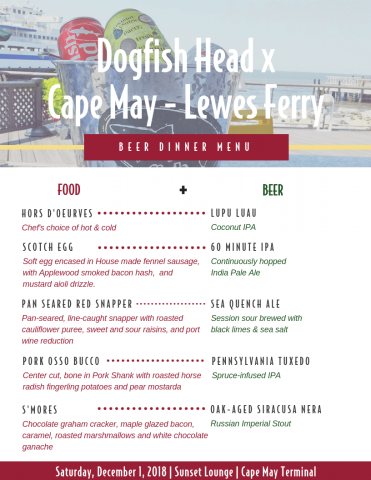 Cape May - Lewes Ferry + Dogfish Head Craft Brewery Beer Dinner Menu