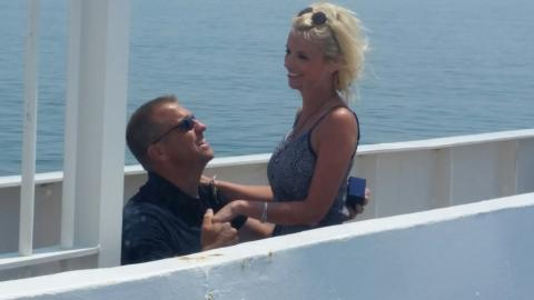 """She said """"yes"""" when he proposed on the ferry"""