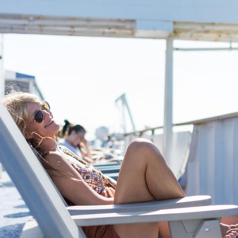 Relaxing aboard the Cape May Lewes Ferry