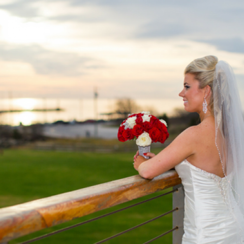 Bride on balcony of the Sunset Lounge, Cape May-Lewes Ferry