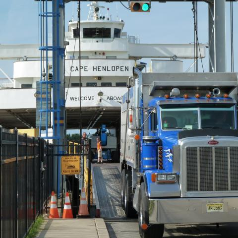 A Tractor Trailer departs the Cape May Lewes Ferry after crossing