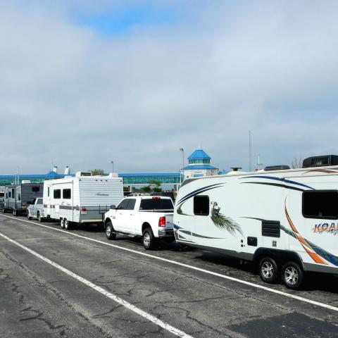 RVs wait to board the Cape May Lewes Ferry