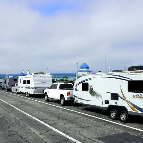 RVs loading onto the ferry