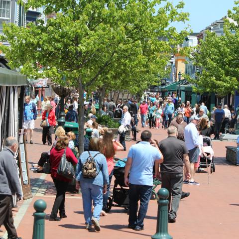 Busy summer scene of Washington Street Mall Cape May